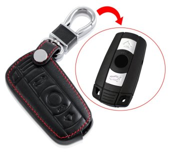 Harga Leather Car Remote Key Holder Case Cover for BMW X 3 5 6 SERIES 3 BUTTON Black