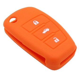 Harga 3 Buttons orange Silicone Car Key Cover Rubbber Bag For Audi A3 A4 A5 A6 A8 Q5 A8 TT S6 Flip Foldig Remote Key Case (EXPORT)