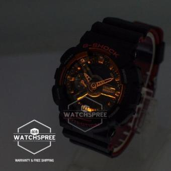 Casio G-Shock Black & Red Series Special Color Models Black Resin Watch GA110HR-1A - 4