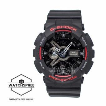 Casio G-Shock Black & Red Series Special Color Models Black Resin Watch GA110HR-1A - 3