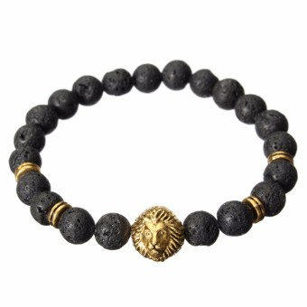 Harga NEW 2015 Fashion Men's Black Lava Stone Gold Lion Beaded Charm Bracelet Cheapest