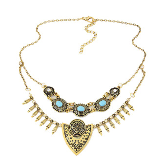 Harga Ethnic Gypsy Bohemian Tribal Boho Coin Statement Necklace(Golden) - intl