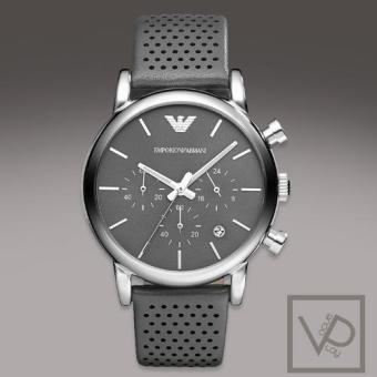 Harga Emporio Armani Classic Chronograph Grey Dial Grey Leather Strap Men's Watch AR1735