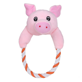 Harga Puppy Plush Toys Interactive Chew Squeaker Toy Sound Pig (Pink) - intl