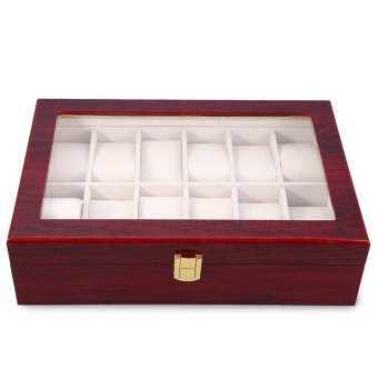 Harga 12 Slots Wood Watch Display Case Watches Box (Red)