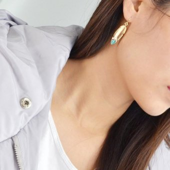Feelontop Punk Rock Enamel Feather Shape Drop Earrings - intl - 4