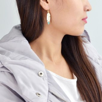 Feelontop Punk Rock Enamel Feather Shape Drop Earrings - intl - 5