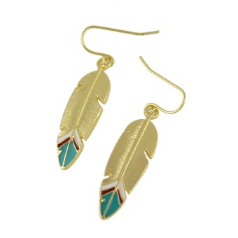 Feelontop Punk Rock Enamel Feather Shape Drop Earrings - intl - 3