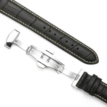 iStrap 22mm Alligator Grain Cow Leather Watch Band Strap W/ Butterfly Deployment Buckle Black 22 - 4