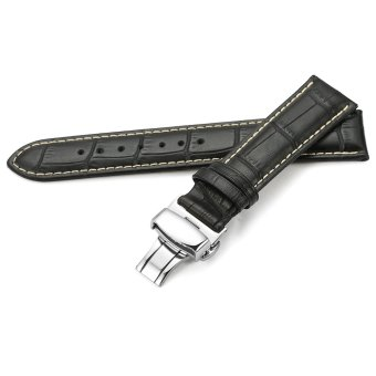 iStrap 22mm Alligator Grain Cow Leather Watch Band Strap W/ Butterfly Deployment Buckle Black 22 - 2