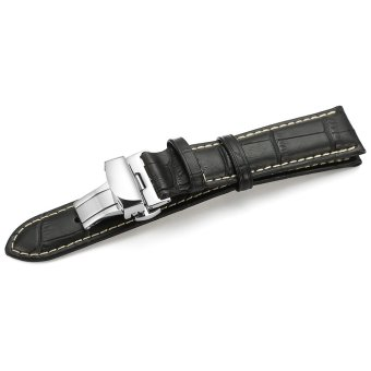 iStrap 22mm Alligator Grain Cow Leather Watch Band Strap W/ Butterfly Deployment Buckle Black 22 - 3