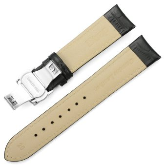 iStrap 22mm Alligator Grain Cow Leather Watch Band Strap W/ Butterfly Deployment Buckle Black 22 - 5
