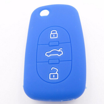 Harga Silicone rubber car key fob cover case for Audi A2 A3 A4 button OLD flip folding protect(Blue)
