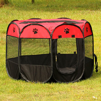 Harga Pet Dog Bed Kennel Play Pen Soft Playpen Cage Folding Crate Red – S Size