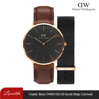 Daniel Wellington Classic Black Bristol / DW00100125 with Free Strap Writband Strap Classic Black Cornwall 40mm Rose Gold_WH_BUNDLE.