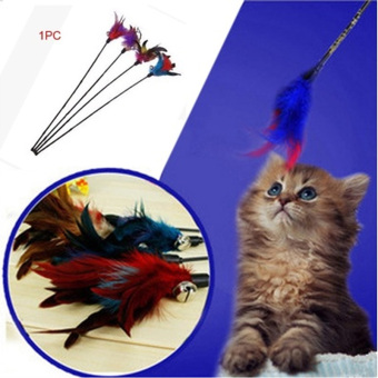 Harga Fun Hand Toy Cat Feather Bell Wand Teaser Rod Bead Interactive Play Pet