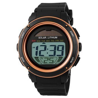 SKMEI Solar Powered Digital Men Women Sports Watch Big Dial 5ATM Water-resistant Multi-function Unisex Wristwatch with Chronograph Alarm Backlight (EXPORT)
