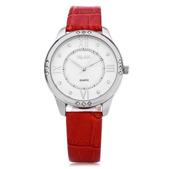 VILAM V1001L Female Quartz Watch Flower Pattern Artificial Crystal Pearl Shell Dial Wristwatch - 2