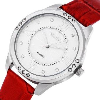 VILAM V1001L Female Quartz Watch Flower Pattern Artificial Crystal Pearl Shell Dial Wristwatch - 3