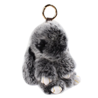 Harga 18cm 100% Real Genuine Rex Rabbit Furs Pendant Bag Car Charm Tag Toy Doll Monster Keychains Black - intl