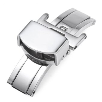 Harga 20MM Stainless Steel Deployment Butterfly Clasp Watch Buckle (SILVER)