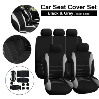 Harga 9in1 Car Seat Covers Set 2x Front +1x Rear +5x Head Rest Covers Universal MA548