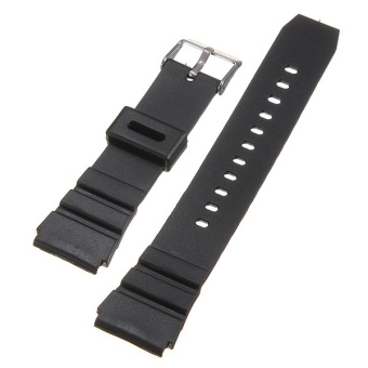 18mm Military Men Black Silicone Rubber Replacement Sport Wrist Watch Band Strap(EXPORT) - 4