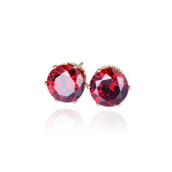 18K Gold Plated Inlay Red Zircon Round Stud Earring