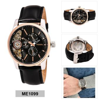 Fossil Watch Twist Black Stainless-Steel Case Leather Strap Mens NWT + Warranty ME1099 ...