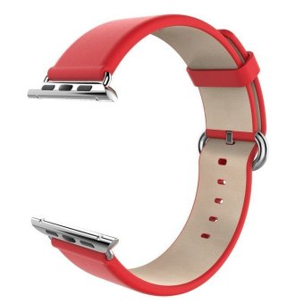 Band Genuine Leather Strap Smart Watchband-Classical Series for 38mm Apple Watch(red) (EXPORT) - INTL - 2
