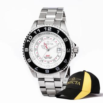 Harga Invicta Pro Diver Men 47mm Case Silver Stainless Steel Strap White Dial Quartz Watch 17139 w/ Cap - intl
