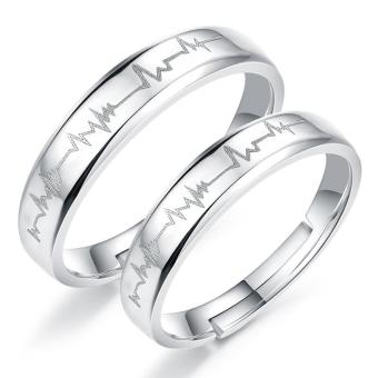 Harga Fashion Lovers Rings Silver Adjustable Couple Ring Jewelry E017 - intl
