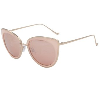 Harga Q-Rated OuWen Quay Butterfly Women's Fashion Gold Pink Sunglasses with Polarized Silver Lens UV400