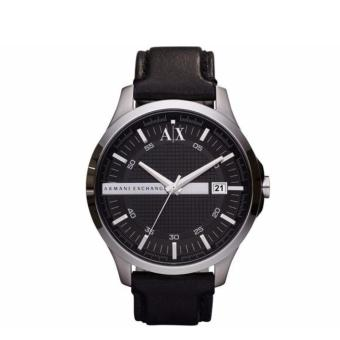Harga Armani Exchange Men's AX2101 Black Leather Quartz Watch