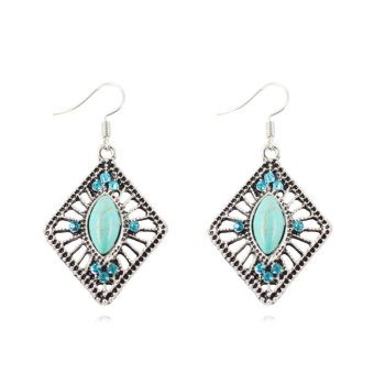 Harga Jiayiqi Hollow Diamond Turquoise Crystal Dangle Earrings