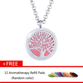 Harga Allwin Wish Tree Hollow Aromatherapy Necklace Perfume Essential Oil Diffusers Stainless Steel Pendant Aromatherapy + Free 12pcs Aromatherapy Refill Pads - intl