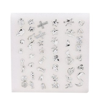 48pcs silver Plated Women men Cross Star Silver Plated Plastic Ear Stud Earring (EXPORT) - 5