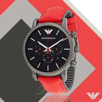 Harga Emporio Armani Men's Quartz Stainless Steel and Silicone Automatic Watch, Color:Red (Model: AR1971)
