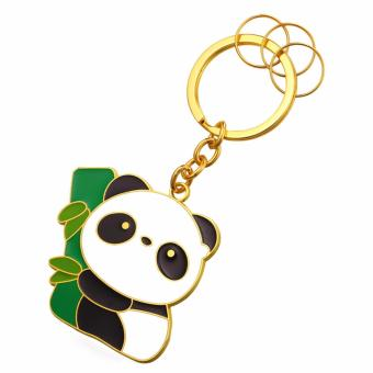 Harga U7 Anime Cute Panda Keychain Pendant Trendy Enamel Metal Key Chain Men for Car With 3 Detachable Keyrings Key Holder Gift Perfect Gold/Platinum Plated Accessories (Gold/Silver) - intl