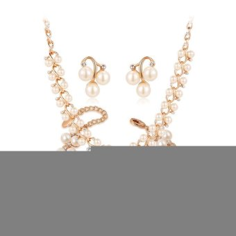 Harga Olen Rose Gold Alloy Pearl Jewellery sets (Rose gold)