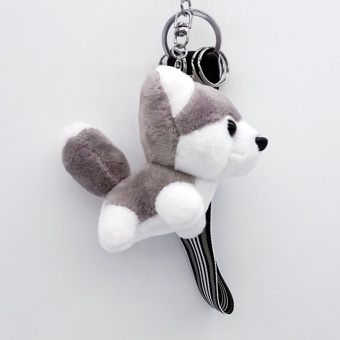 Harga Cartoon husky plush keychain dog doll key chain bag pendant wedding couple gift Men Women