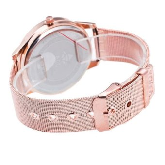 Women Men Business Metal Band Analog Quartz Fashion Wrist Watch Rose Gold - intl - 3