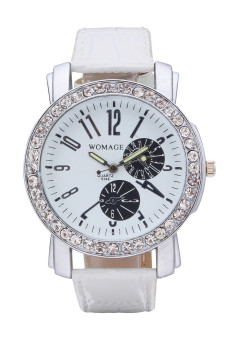 Harga Womage Women's White Leather Strap Watch 9346