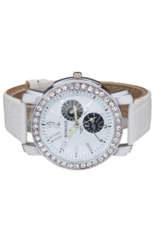 Womage Women's White Leather Strap Watch 9346 - 4