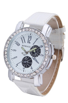 Womage Women's White Leather Strap Watch 9346 - 2