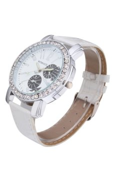 Womage Women's White Leather Strap Watch 9346 - 3