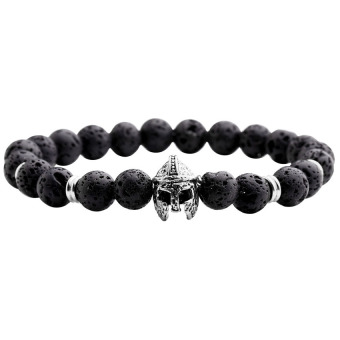 Harga 8mm Lava Rock Stone Ball Beads Sparta Helmet Charm Stretch Energy Bracelet (Black+Silver)