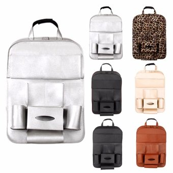Leather Car Back Seat Organizer Pockets Folding Car Backseat Hanging Holder Storage Bags Tissue Bag Auto - intl - 5