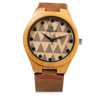 Harga REDEAR SJ 1448 - 7 Male Wooden Quartz Watch Leather Strap Special Pattern Dial Wristwatch (Brown)
