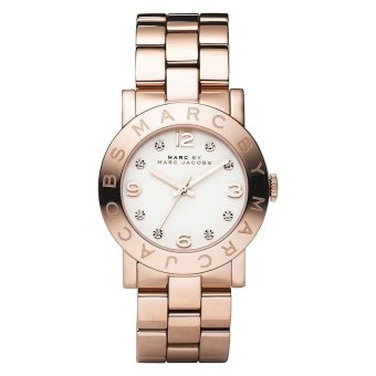 Harga Marc By Marc Jacobs White Dial Rose Gold-Tone Stainless Steel Ladies Watch MBM3077